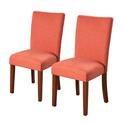 HomePop Parsons Classic Upholstered Accent Dining Chair, Set Of 2, Coral