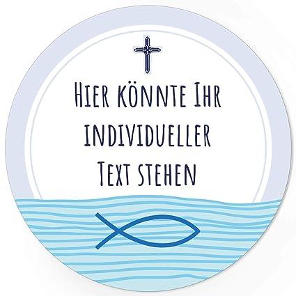24 Individuelle Runde Etiketten Selber Gestalten Blau Fisch Kreuz Personalisierte Aufkleber Für Taufe Konfirmation Kommunion Ostern Weihnachten