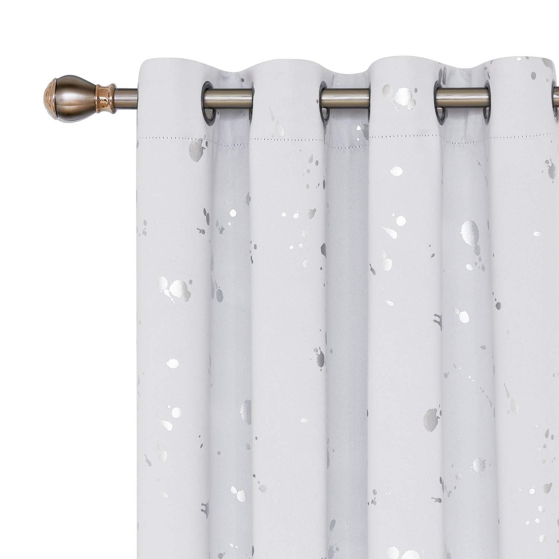 Deconovo Cortinas Opacas con Puntos Plateados Cortina para Sal/ón y Dormitorio con Ojales 2 Piezas 140 x 175 cm Blanco Gris