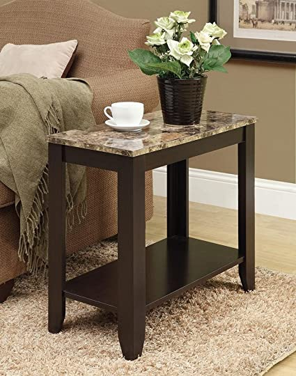 Merveilleux Monarch Specialties I 3114, Accent Side Table, Marble Look Top, Cappuccino,