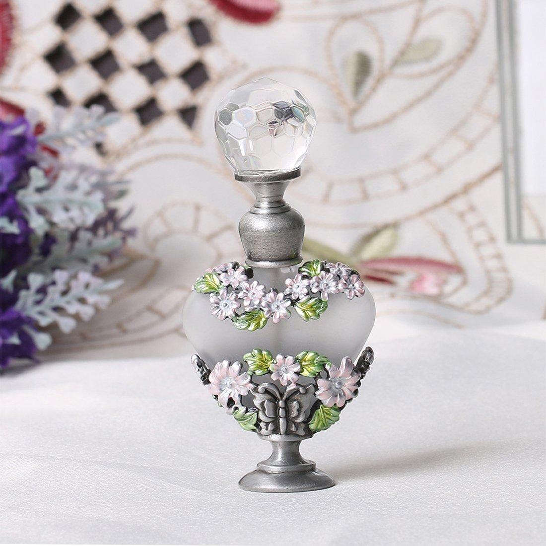 Botella H&D, para perfume, de cristal, vacía, recargable, de 8 ml en un soporte de metal, decorada con flores de margarita, rosa, granada y flor morada, ...