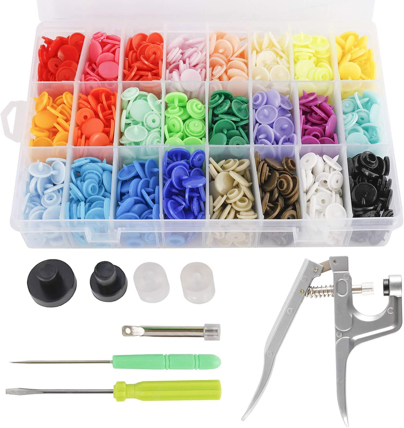 24 Colors YaeCCC 360pcs 12mm Snaps Plastic Button with Snap Press Plier