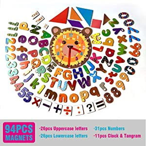 IDEAMAX Magnetic Letters and Numbers - 94 Educational Alphabet Refrigerator Magnets for Vocabulary, Sentence Building and Math Skills Includes Uppercase, Lowercase , Math Symbols, Clock & Tangram