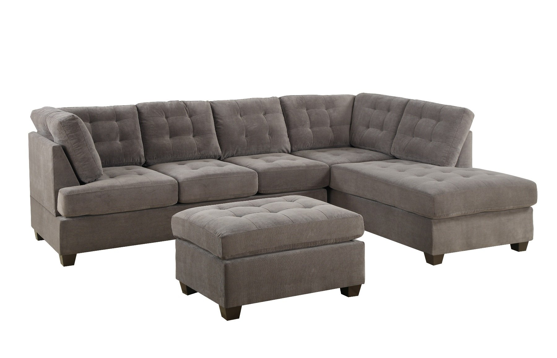 Bobkona Michelson 3Piece Reversible Sectional with Ottoman Sofa