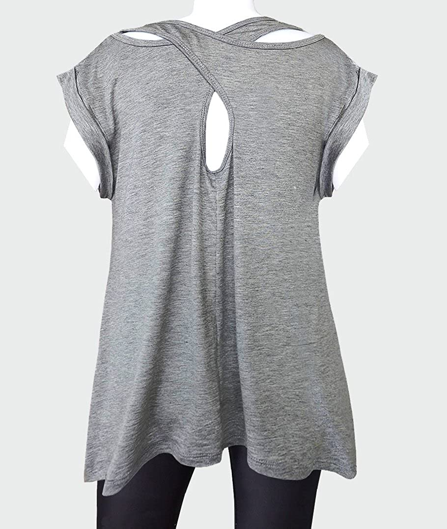 TeeMixed Women Flowy Flare Short Sleeve Criss Cross Back T-shirts-3129