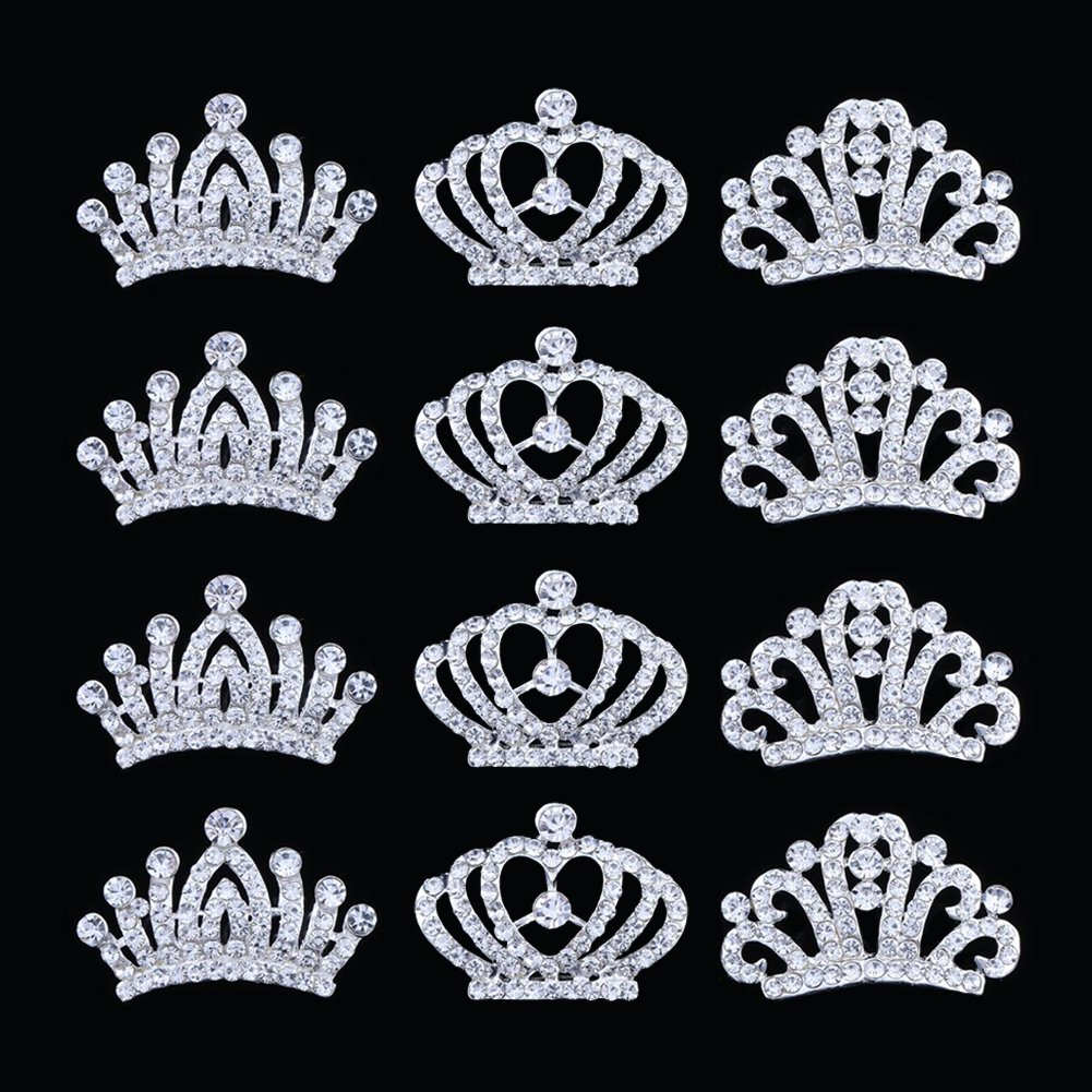 12Pcs Metal Rhinestone Mini tiaras and crowns for little girls Comb Tiara Hair Clips For Princess Party Supplies,Princess Flower Girl Wedding Party Favor Hair Jewelry