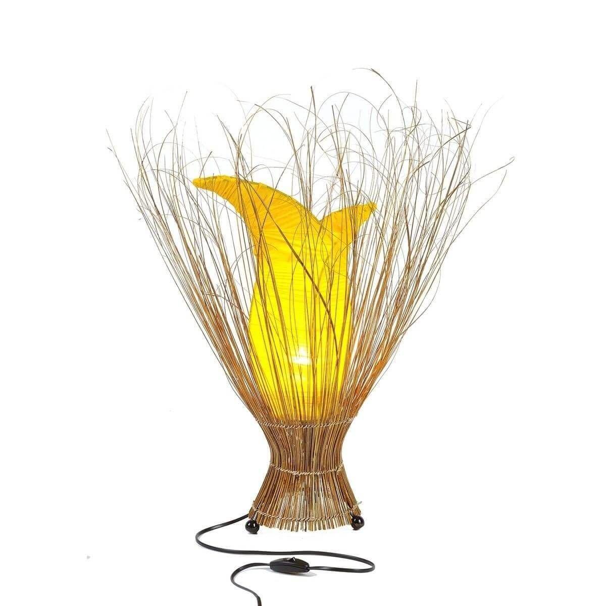 Deko-Leuchte Stimmungsleuchte Stehleuchte Tischleuchte Tischlampe Bali Asia TULPE groß 100 cm Farbe Gelb