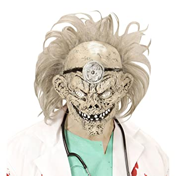 Careta látex psicópata Máscara zombie médico Mascarilla de terror doctor Accesorio disfraz sanitario Antifaz halloween muerto