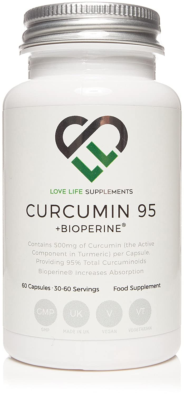 LLS Curcumina 95 + Bioperine® | Extracto de cúrcuma alta calidad que contenga SÓLO LA CURCUMINA (el componente activo de cúrcuma) | 500mg x 60 ...