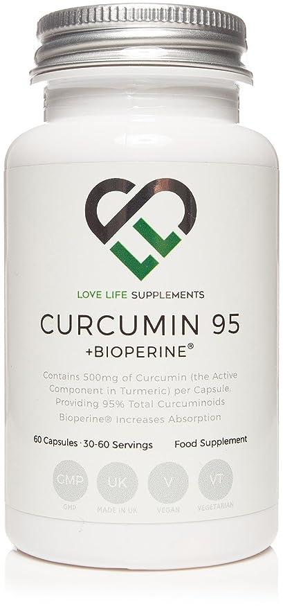 LLS Curcumina 95 + Bioperine® | Extracto de cúrcuma alta calidad que contenga SÓLO LA