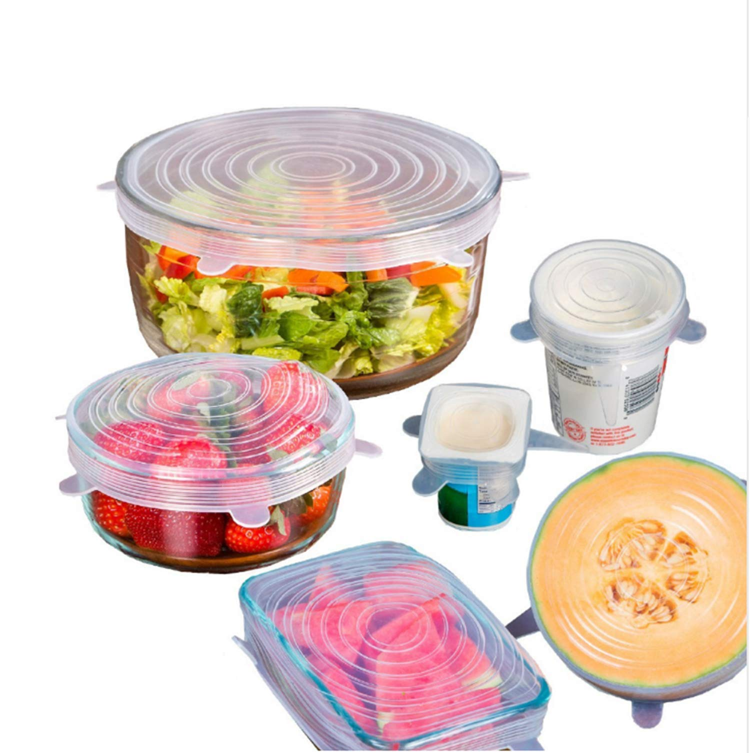6PCS/Set Silicone Stretch Lids Cover Kitchen Picnic Outdoor Food Preservation Dinner Table Stretchable Multi-Purpose Pot Lid (clear)