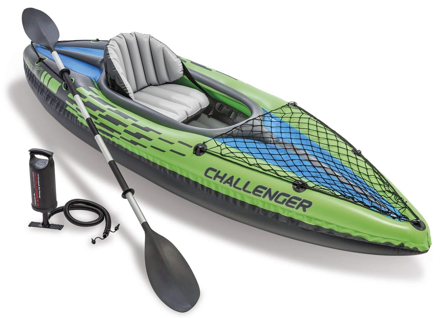Challenger K1 Kayak, 1-Person Inflatable Kayak Set with Aluminum Oars and High Output Air Pump