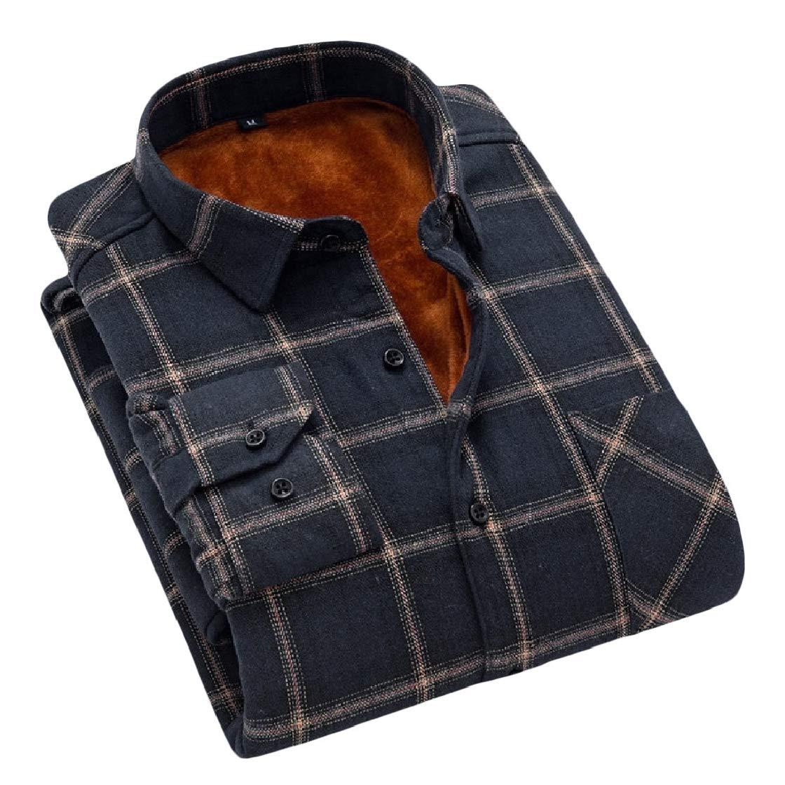 YUNY Mens Plaid Pattern Keep Warm Casual Thick Fall Winter Flannel Dress Shirts AS9 M