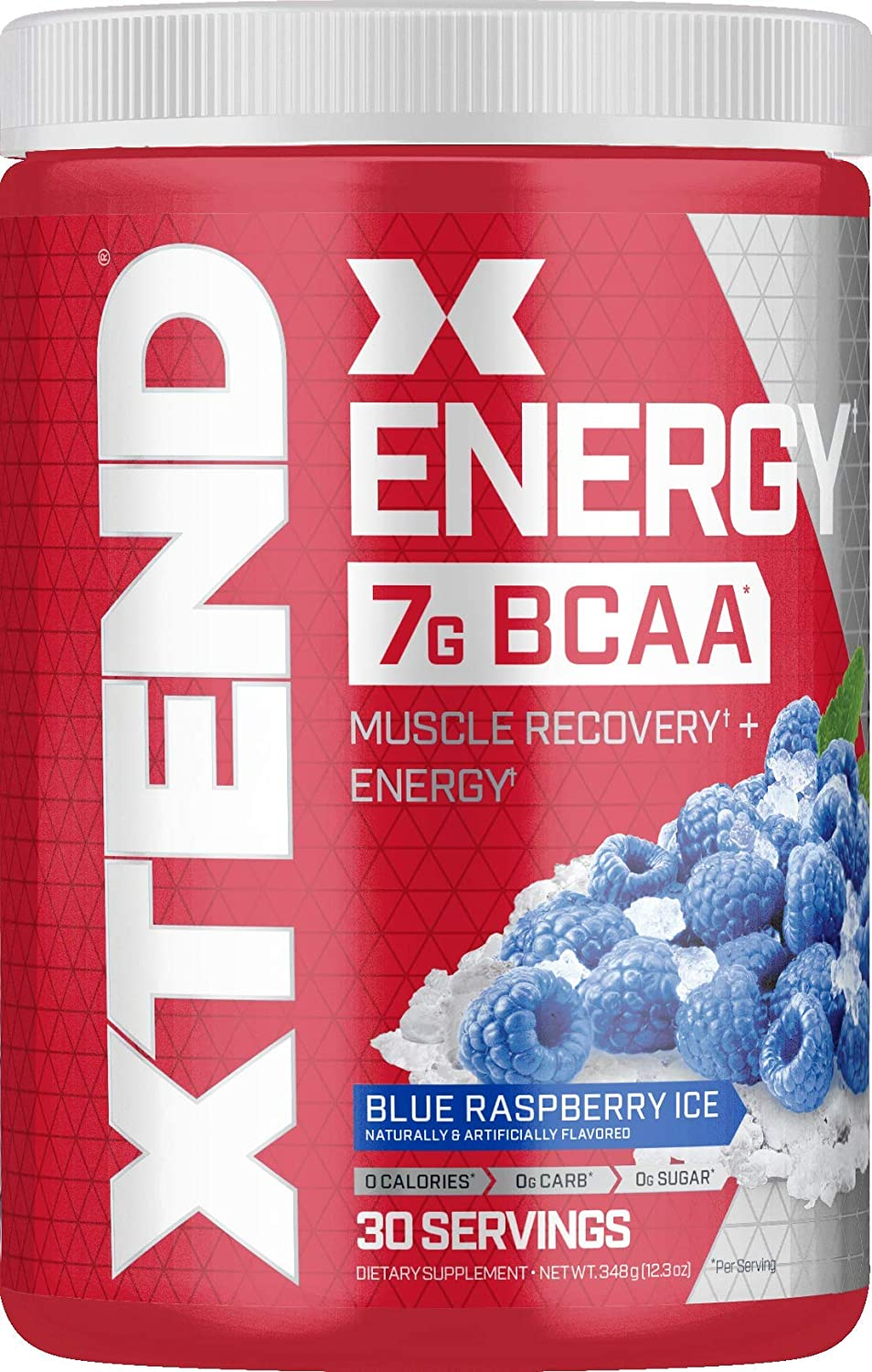 XTEND Energy BCAA Powder Blue Raspberry | 125mg Caffeine + Sugar Free Pre Workout Muscle Recovery Drink with Amino Acids | 7g BCAAs for Men & Women | 30 Servings