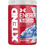 XTEND Energy BCAA Powder Blue Raspberry | 125mg Caffeine + Sugar Free Pre Workout Muscle Recovery Drink with Amino Acids | 7g