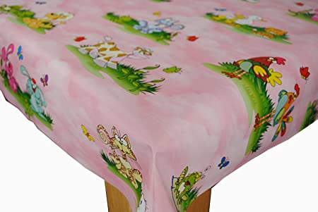 Charmant Wipe Clean Tablecloth Oilcloth Vinyl Kids Nursery Cartoon Animals