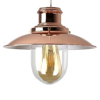 minisun u moderna pantalla para lmpara de techo de estilo pescador con acabado en cobre pulido
