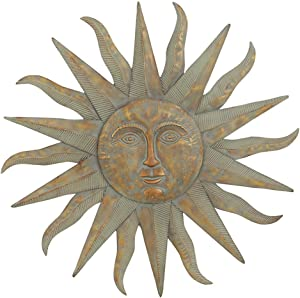 Rustic Farm Home Large Metal Sun Wall Decor Bronze Green Garden Indoor Outdoor