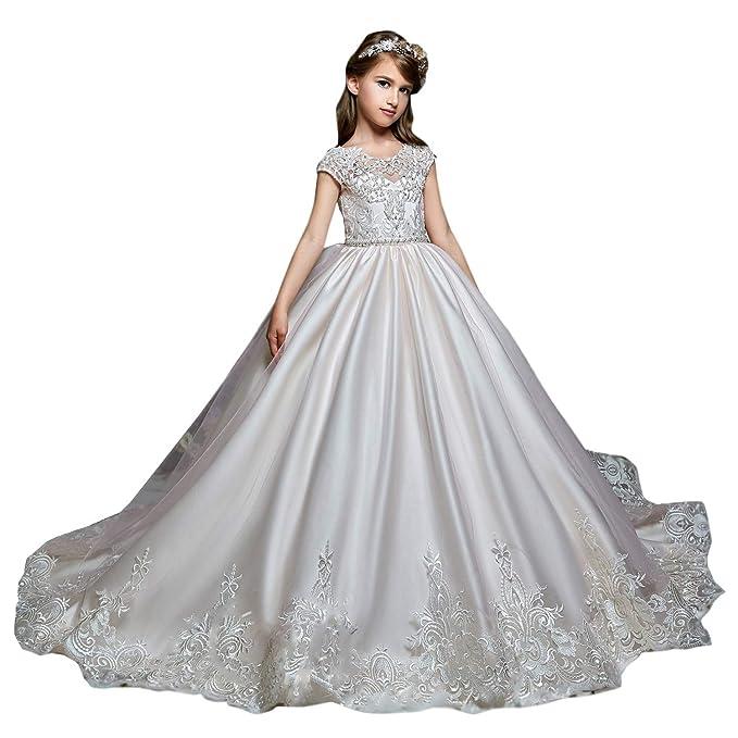Shenlinqij Vestido Largo Clásico De Encaje Para Niñas Con Diseño De Flores