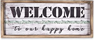 MACVAD Welcome to Our Happy Home Solid Wood Framed Wall Sign for Home,Entryway,Living Room.Farmhouse Welcome Hanging Sign,Gift for Family,Distressed Finish 20