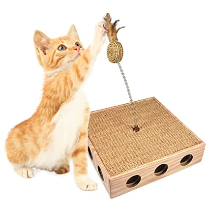 Fdit Corrugated Paper Cat Catching Toy Box With Natural