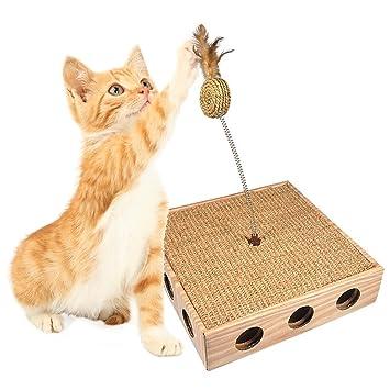 Fdit Juguete de Gatos de Madera de Cuero Papel Capturando Caja de Juguete de Gato con Agujero Lateral para Capturar: Amazon.es: Hogar