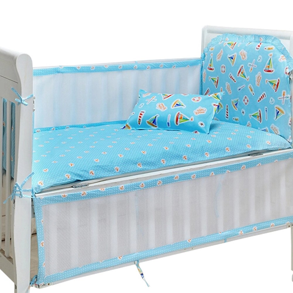 Set of 4 Nursery Baby bassinet/Crib Bedding Bumper Crashproof Cushion Sail Boat Kylin Express