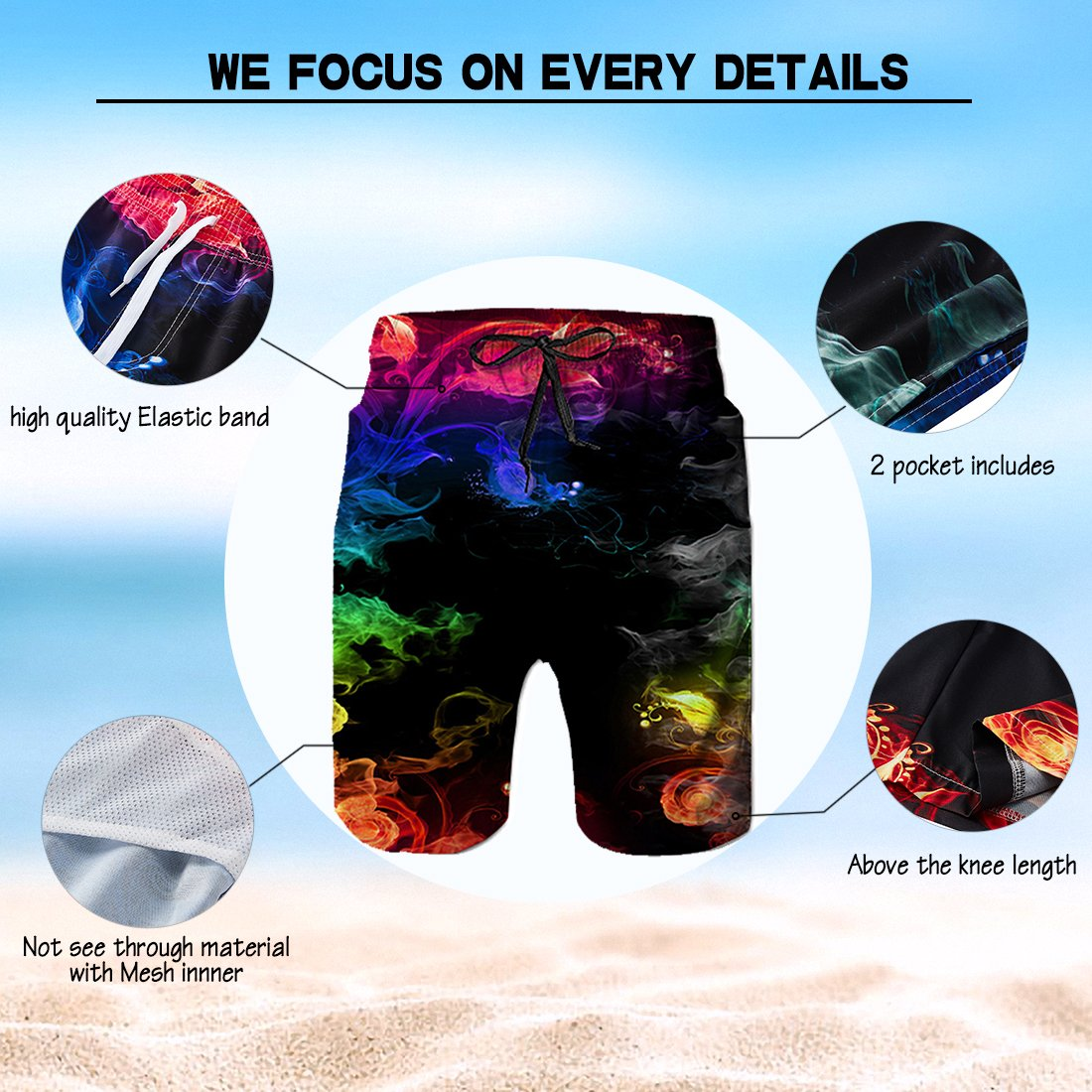 Alistyle Mens Boys Medium Length 3D Print Smoke Graphic Summer Beach Shorts Surfing Trunks by Alistyle (Image #4)