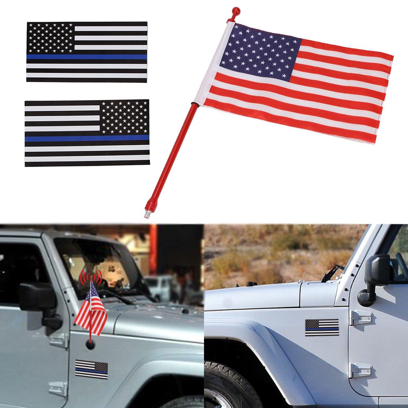 アメリカ国旗+ United Statesアメリカ国旗デカールステッカー+ラジオアンテナマスト交換用ジープラングラーJK 2007 – 2017 Antenna + US Flag + Stickers Jeep Antenna B079BH8Q47  Red+Blue Antenna + US Flag + Stickers