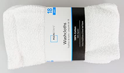 Mainstay MAIN STAYS 18 Pack Assorted Cotton Terry Thin Washcloths Rags (White)