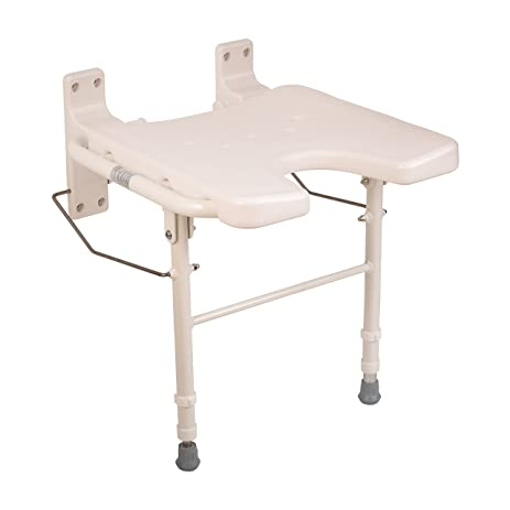 healthsmart wall mount fold away bath chair shower seat bench with adjustable legs white