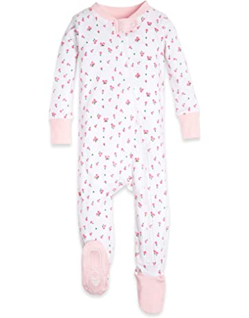 96658917e Burt's Bees Baby - Baby Girls Sleeper Pajamas, Zip Front Non-Slip Footed  Sleeper