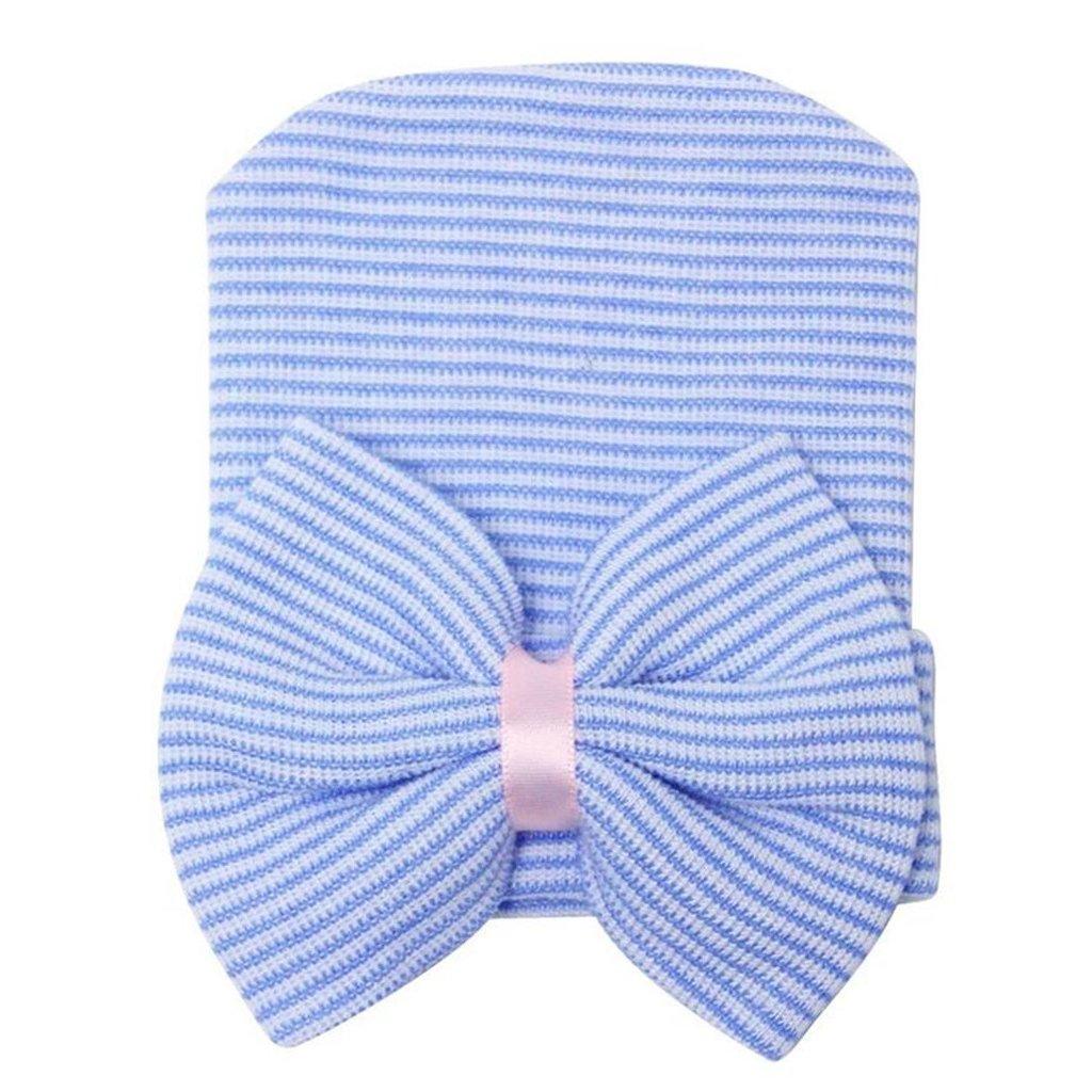 Bonnet Pour Bébé Fille Nouveau-né Chapeau Noeud Papillon à Rayures - Rose Generic STK0155002940