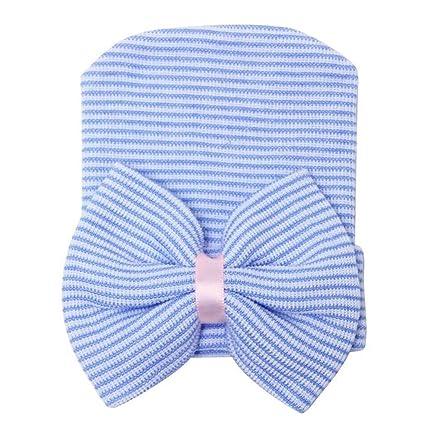 Gorro Para El Recién Nacido Infantil De La Muchacha Del Niño Del Gorro Franja Azul - Azul
