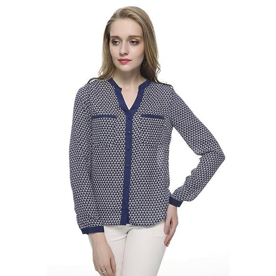 AOBILE(TM) Women Geometric chiffon V neck blouses work wear Blusas Femininas European long