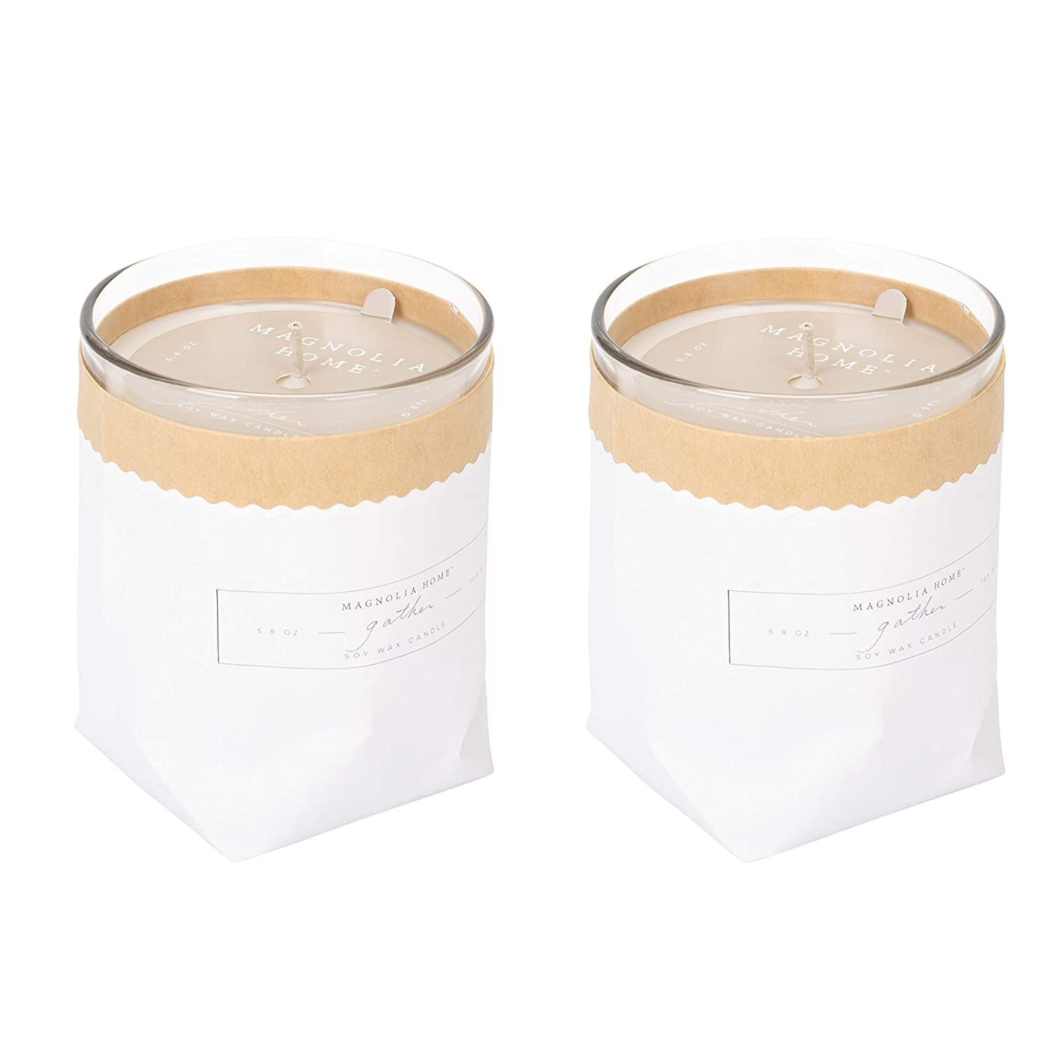 Magnolia Home Gather Scented 5.8 oz Soy Wax Kraft-Textured Candle by Joanna Gaines - Illume Pack of 2