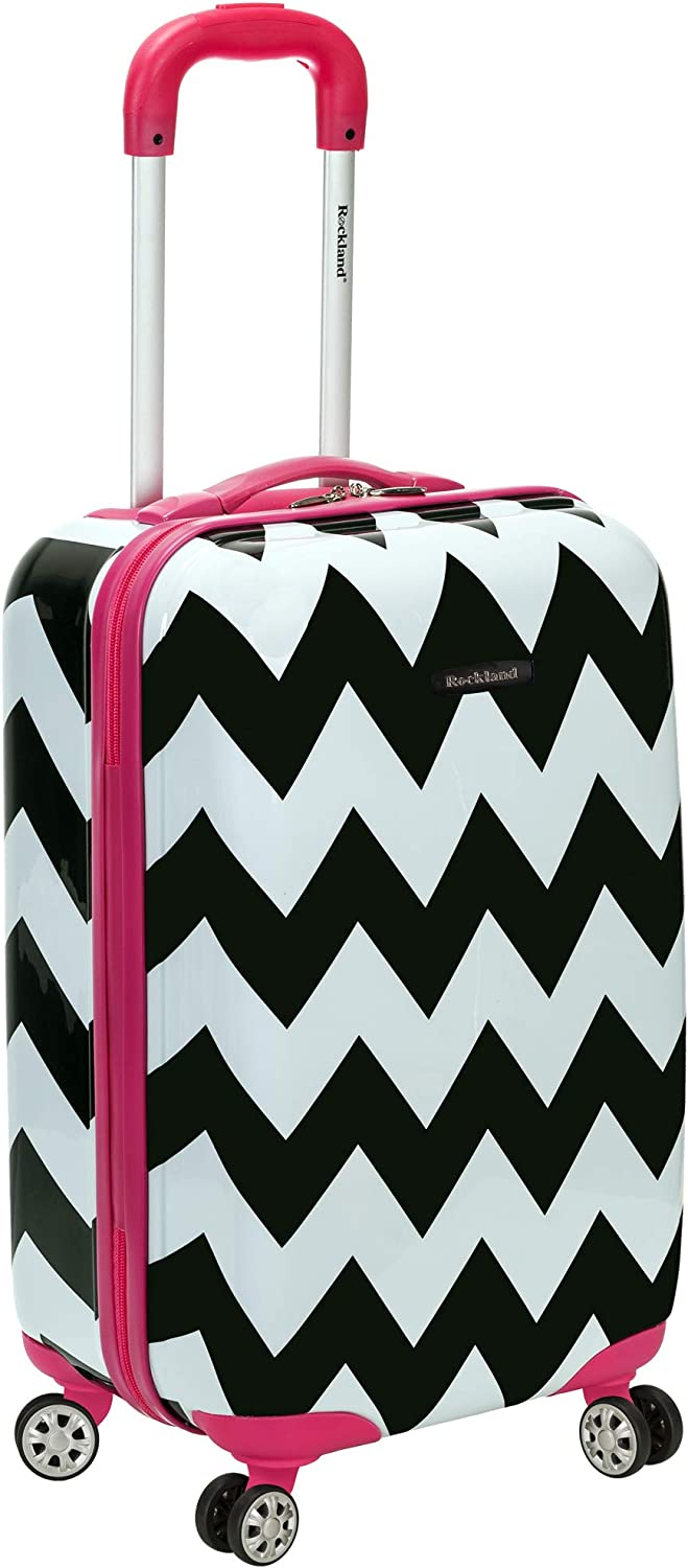 Rockland Safari Hardside Spinner Wheel Luggage, Pink Chevron, Carry-On 20-Inch
