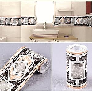 Yifely Modern Geometric Wallpaper Border Self Adhesive Wall Covering Borders Kitchen Bathroom Tiles Decor Sticker