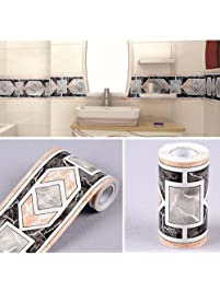 SimpleLife4U Modern Geometric Wallpaper Border Self Adhesive Wall Covering Borders  Kitchen Bathroom Tiles Decor Sticker