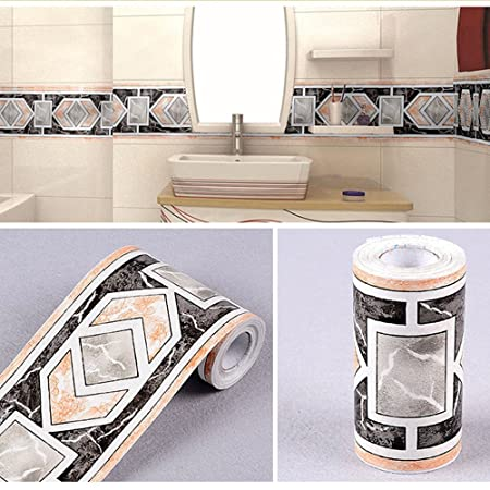 LoveFaye Modern Geometric Wallpaper Border Self Adhesive Wall Covering Borders Kitchen Bathroom Tiles Decor Sticker
