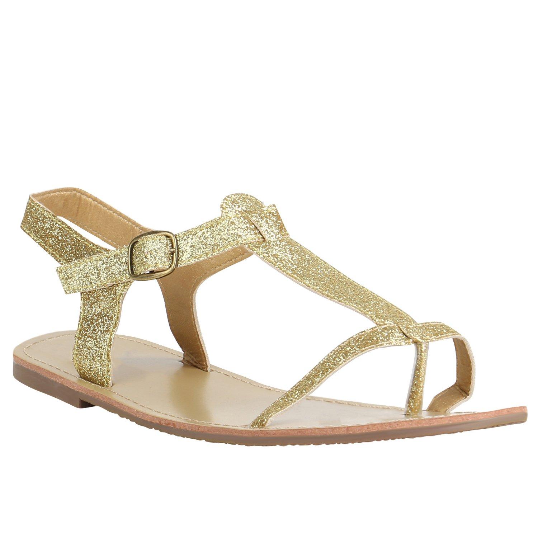Stiefelparadies Damen Sandalen Zehentrenner mit Blockabsatz Flandell  38 EU|Gold Glitzer