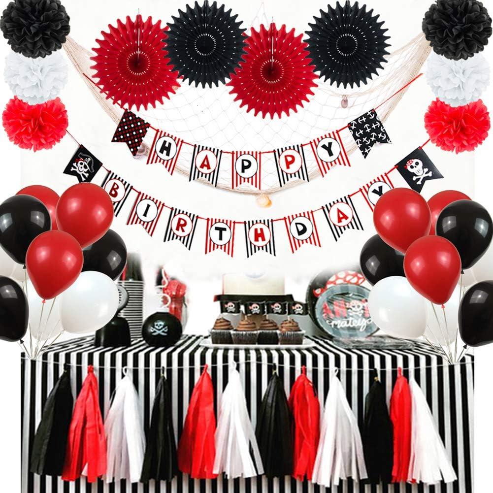 Easy Joy Piraten Geburtstag Dekoration Happy Birthday Girlande Kindergeburtstag Pirat Mottoparty Deko