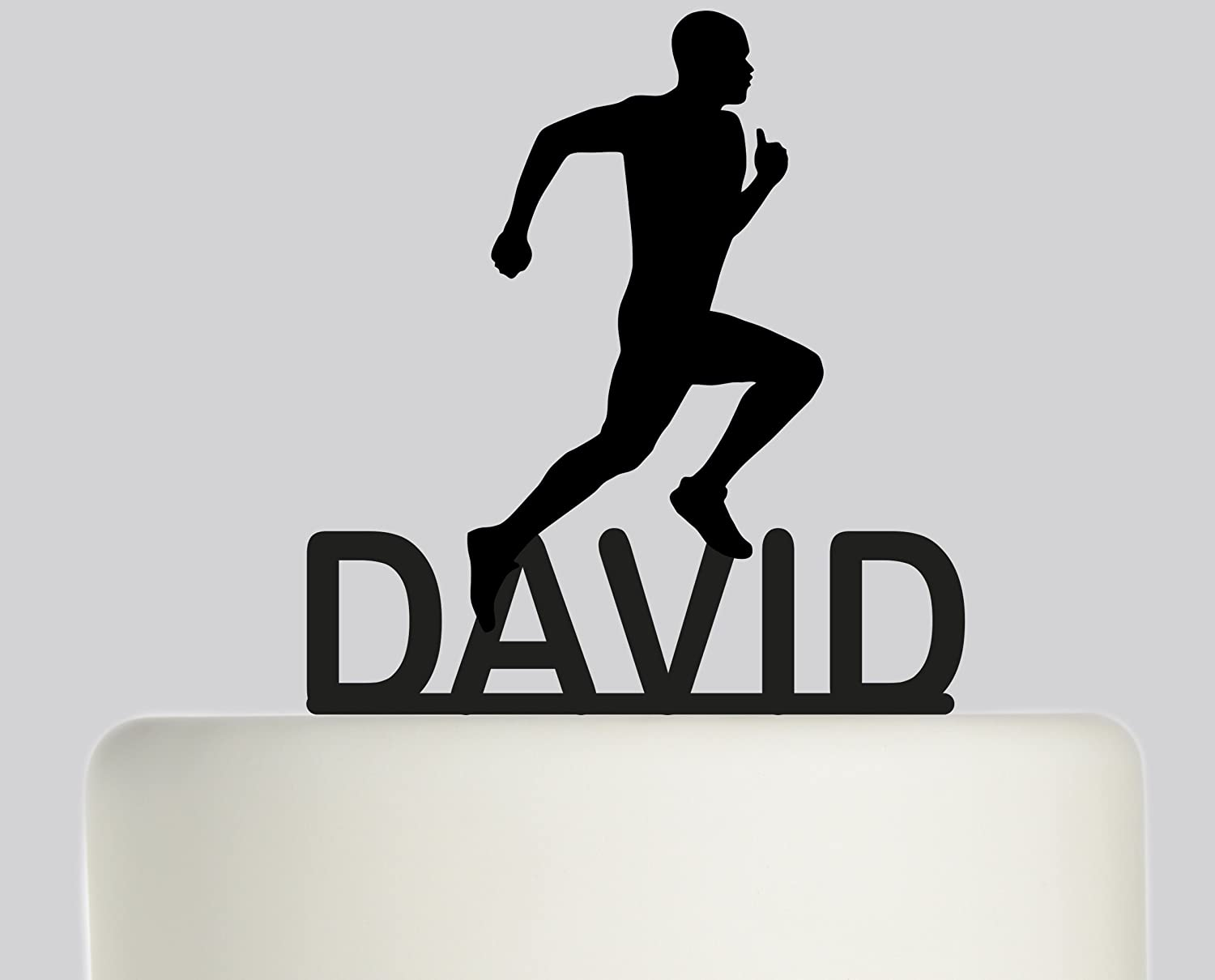 Large Birthday Cake topper Running, Runner, Marathon, man, male, Personalised with YOUR NAME. Ideal birthday cake decoration, birthday party Acrylic cake topper, Available in Gold Mirror, Gold Sparkle, Silver Mirror, Silver Sparkle, Bronze Mirror, Black,Bl
