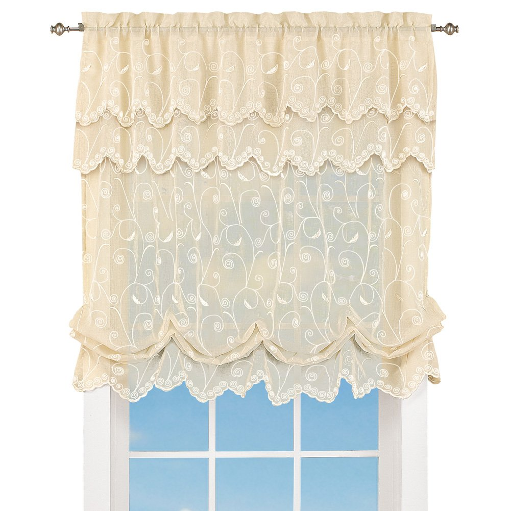 """Collections Etc Sheer Balloon Curtain Shade with Scroll Pattern & Rod Pocket Top, 63"""" L x 54"""" W, Cream, 54"""" X 63"""""""