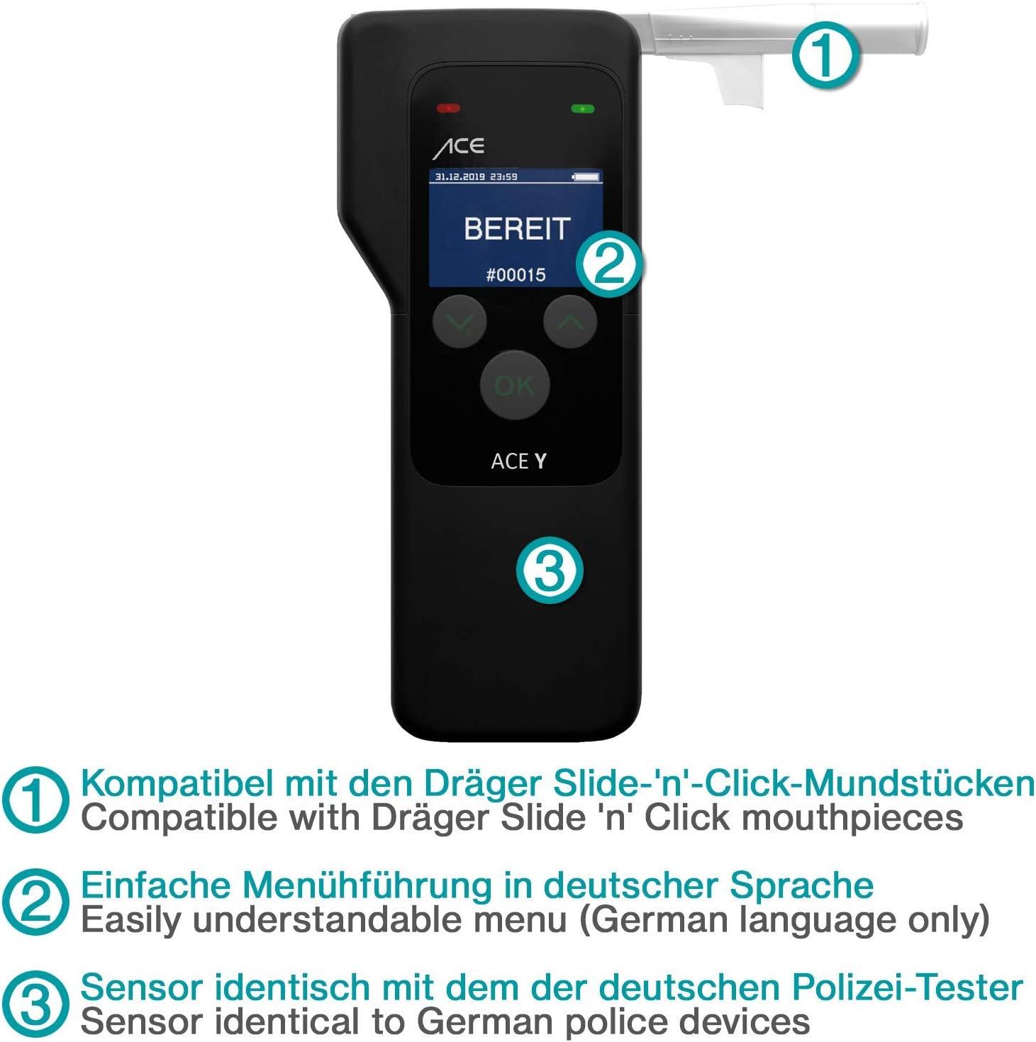 Polizeigenauer Promilletester mit Dr/äger-Polizei-Sensor ACE Y Alkoholtester