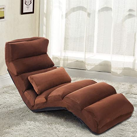Amazon.com: Brown Folding Lazy Sofa Chair Pillow Modern ...