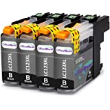 OfficeWorld Compatible Ink Cartridges Replacement for Brother LC123 Black Compatible for Brother DCP-J132W DCP-J152W DCP-J552DW MFC-J650DW DCP-J752DW DCP-J4110DW MFC-J870DW MFC-J4410DW MFC-J4510DW MFC-J4610DW MFC-J4710DW MFC-J470DW, Pack of 4