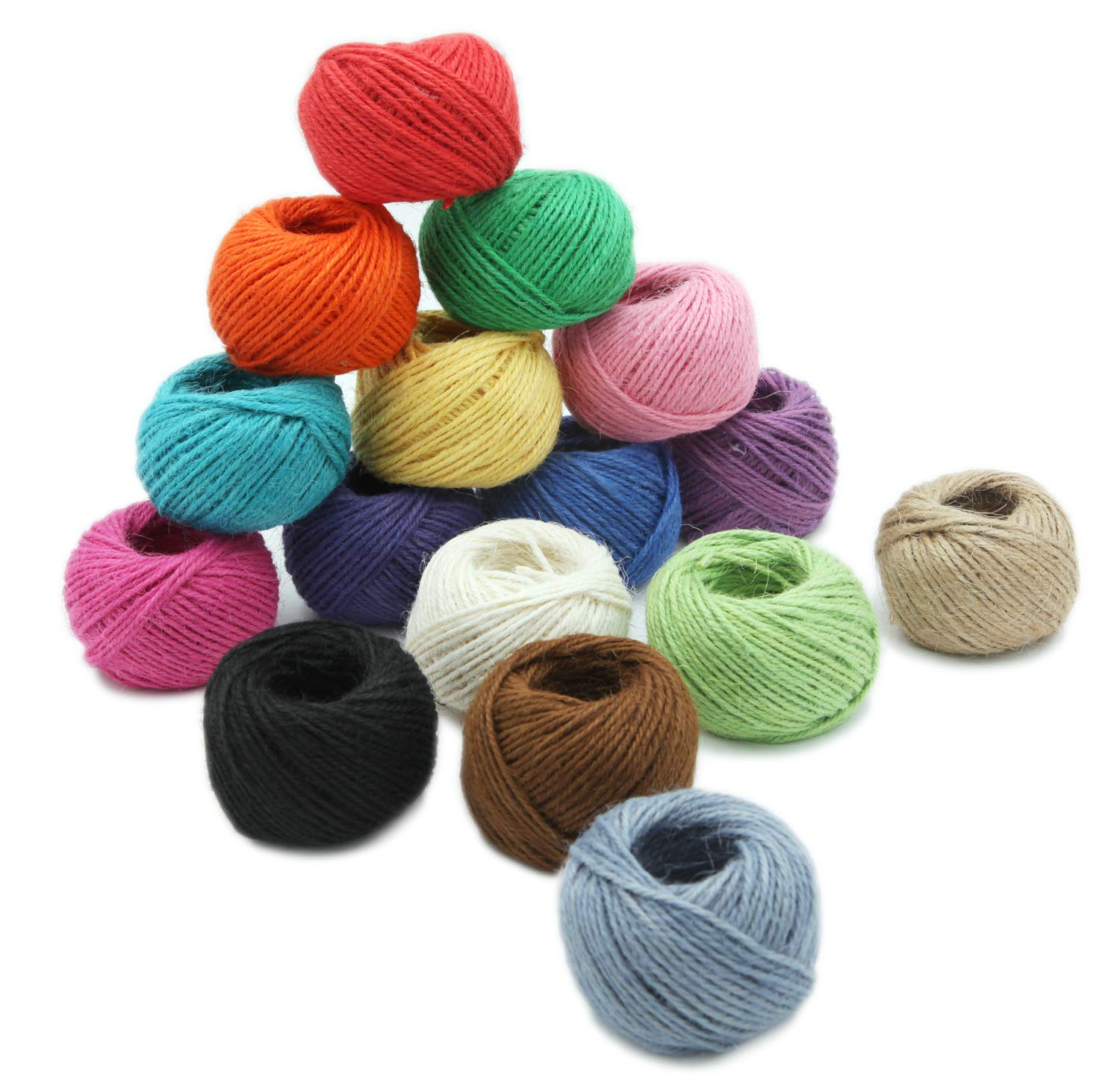 Jute Twine String//Rope for Crafts,Gardening,Wrapping,Packing Picture Hanging and Decoration 1312 Feets//437 Yards TELEXSUN 3 PLY,2MM,16 Rolls,82 Feets per Roll