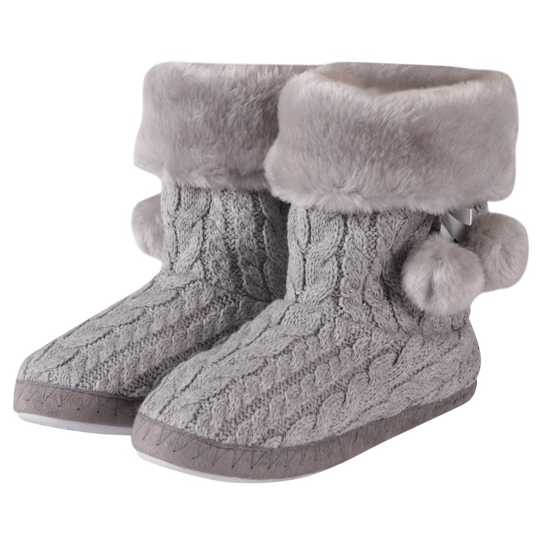 Forfoot Women's Indoor Slipper Cold Weather Sweater Knit Pom Fleece Lining Boots House Light Gray US Women Size XL