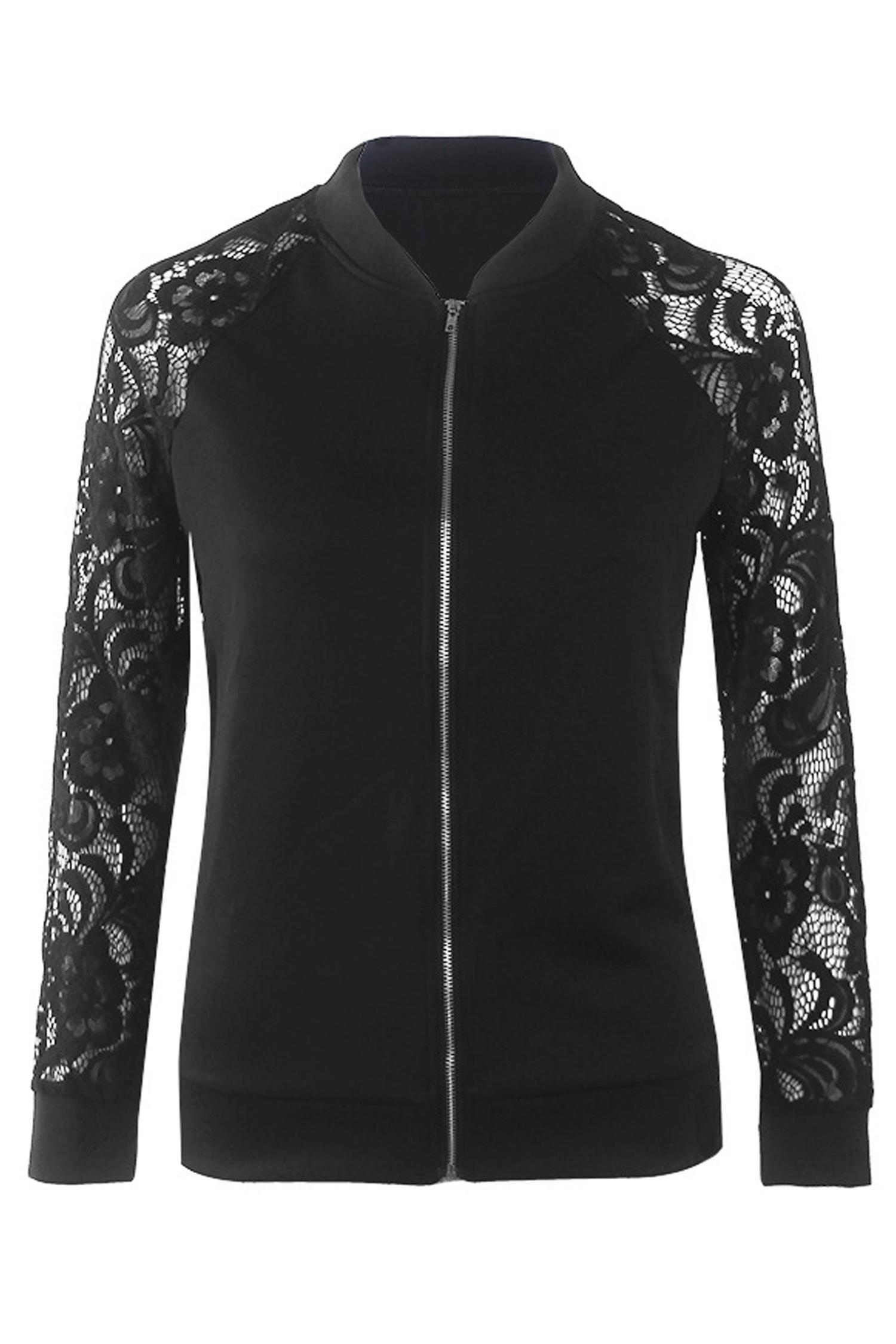 Zeagoo Women's Casual Long Sleeve Lace Patchwork Zipper Up Bomber Jacket Top